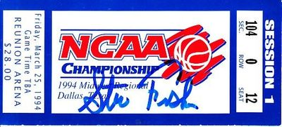 Steve Fisher autographed 1994 NCAA Tournament Midwest Regional Sweet 16 game ticket stub
