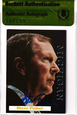 Steve Fisher autographed Michigan Wolverines 1992 team issued card (BAS authenticated)