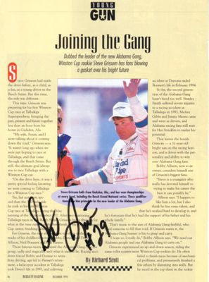 Steve Grissom autographed Beckett Racing magazine page with photo