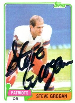 Steve Grogan autographed New England Patriots 1981 Topps card