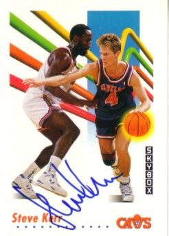 Steve Kerr autographed Cleveland Cavaliers 1991-92 SkyBox card