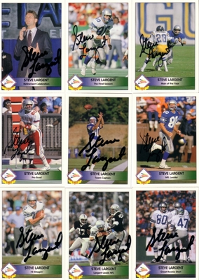 Steve Largent autographed Seattle Seahawks 1992 Pacific 9 card set