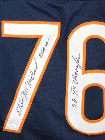 Steve McMichael autographed Chicago Bears stitched jersey inscribed S.B. XX Champion (JSA Witnessed)