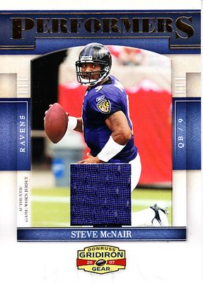 Steve McNair 2007 Donruss Gridiron Gear Baltimore Ravens game worn jersey card P41 #129/250