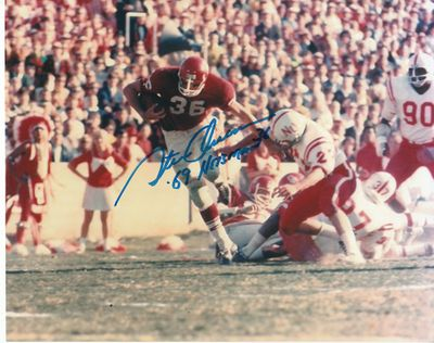 Steve Owens autographed Oklahoma Sooners 8x10 photo inscribed '69 Heisman