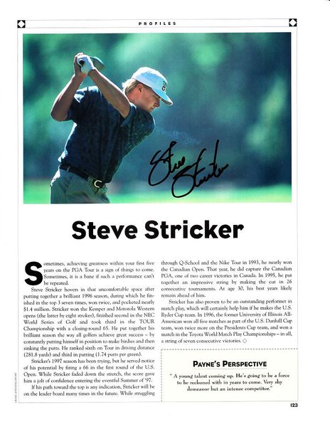 Steve Stricker autographed golf magazine page photo