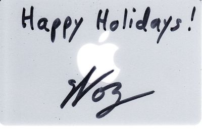 Steve Wozniak autographed Apple gift card inscribed Happy Holidays! (JSA)