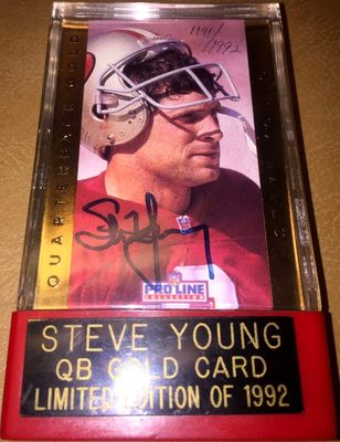 Steve Young certified autograph San Francisco 49ers 1992 Pro Line Quarterback Gold card in display holder (#/1992)
