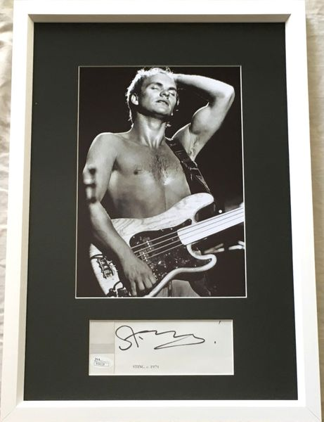 Sting autograph matted and framed with Police 1979 7x10 inch concert photo (JSA)