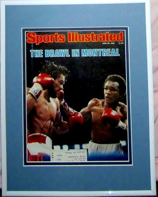 Sugar Ray Leonard autographed 1980 Brawl in Montreal Sports Illustrated cover matted and framed