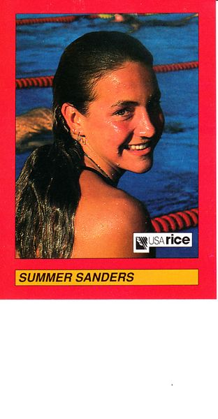Summer Sanders 1992 USA Rice Council promo card RARE