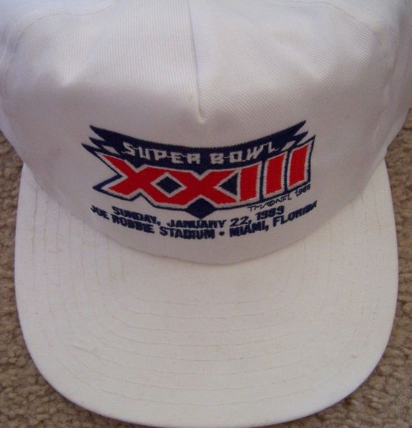 Super Bowl 23 (XXIII) embroidered logo white snapback cap or hat NEW (San Francisco 49ers win)