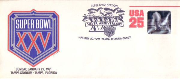 Super Bowl 25 commemorative cachet (Giants 20, Bills 19)