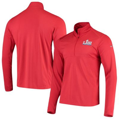 Super Bowl 53 logo Nike Dri-Fit red half zip pullover jacket NEW