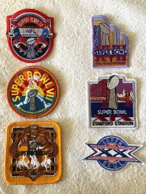 Super Bowl authentic embroidered logo patches (your choice of VI VII VIII XVII XIX XX)