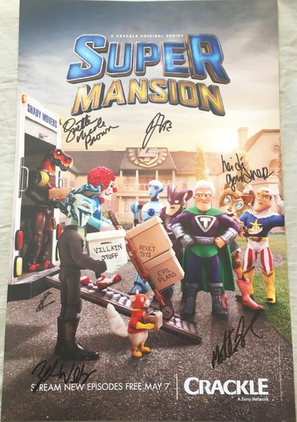 SuperMansion cast autographed 2018 Wondercon 11x17 mini poster (Jillian Bell Heidi Gardner Breckin Meyer Zeb Wells)