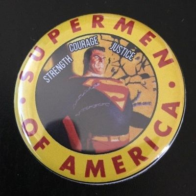 Supermen of America 2017 Comic-Con retro button or pin (Alex Ross)