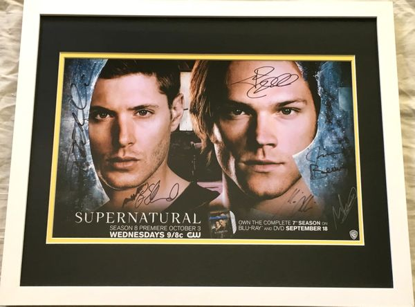 Supernatural cast autographed 2012 Comic-Con poster matted and framed (Jensen Ackles Misha Collins Jared Padalecki)