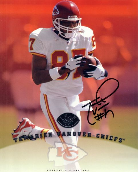 Tamarick Vanover certified autograph Kansas City Chiefs 1997 Leaf 8x10 photo card