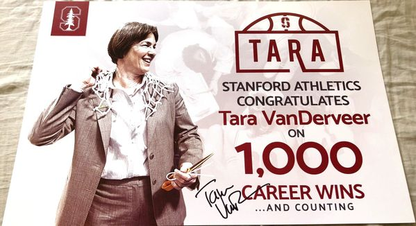 Tara VanDerveer autographed Stanford Cardinal 1000 Career Wins commemorative poster or sign