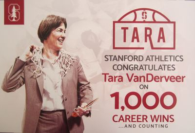 Tara VanDerveer Stanford Cardinal 1000 Career Wins commemorative poster or sign