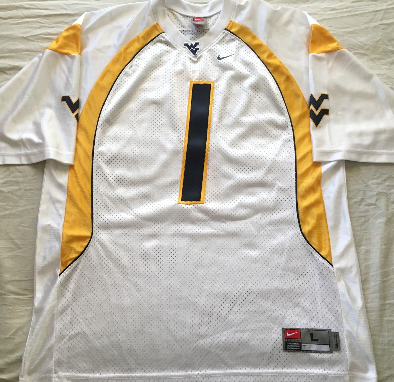 Tavon Austin West Virginia Mountaineers authentic Nike double stitched white #1 jersey NEW