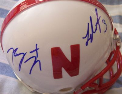 Roy Helu Jr. and Taylor Martinez autographed Nebraska Cornhuskers mini helmet