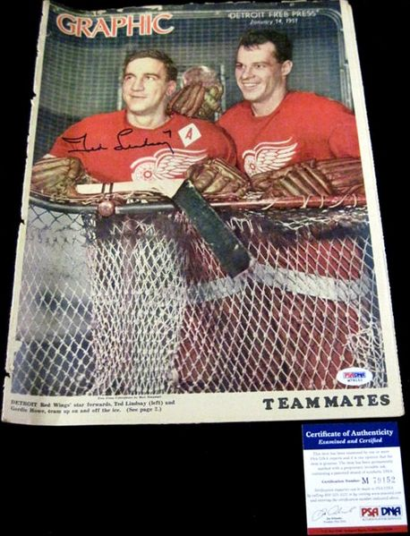 Ted Lindsay autographed Detroit Red Wings 1951 newspaper insert (PSA/DNA)