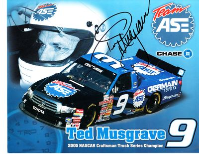 Ted Musgrave autographed NASCAR 8x10 photo card