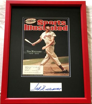Ted Williams autograph or cut signature framed with Boston Red Sox 2002 Sports Illustrated memorial cover