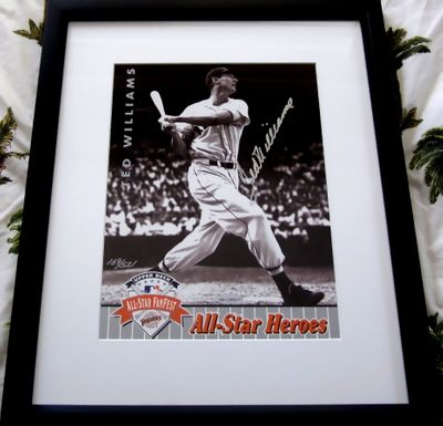Ted Williams autographed Boston Red Sox 1992 UDA All-Star Heroes photo card matted and framed #169/521