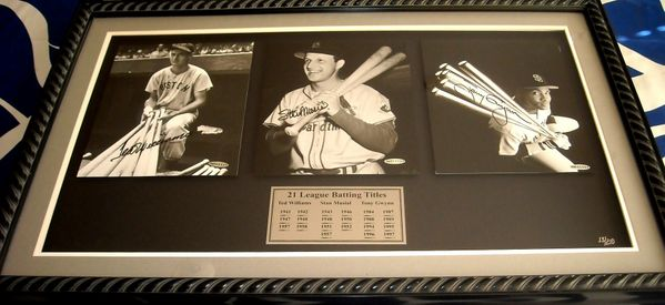 Ted Williams Stan Musial Tony Gwynn autographed 21 Batting Titles 8x10 photo collection matted & framed #13/210 (UDA)