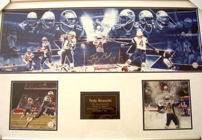 Tedy Bruschi autographed 2003 New England Patriots Snow Game photo collection matted and framed