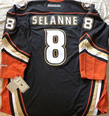 Teemu Selanne Anaheim Ducks authentic Reebok 2014 black final season triple stitched jersey NEW WITH TAGS