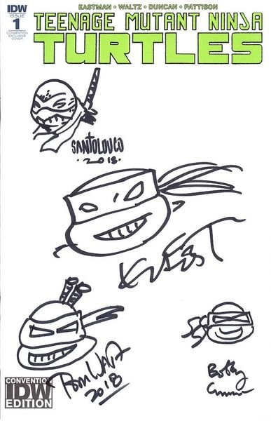Teenage Mutant Ninja Turtles 2018 Comic-Con comic book #1 autographed & sketched (Kevin Eastman Bobby Curnow Mateus Santolouco Tom Waltz)