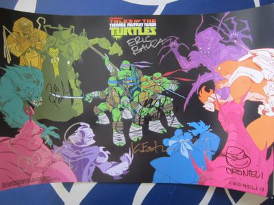 Teenage Mutant Ninja Turtles cast autographed 2017 Comic-Con poster Eric Bauza Greg Cipes Kevin Eastman Rob Paulsen