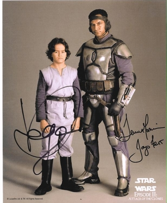 Temuera Morrison and Daniel Logan autographed Star Wars Jango and Boba Fett 8x10 photo