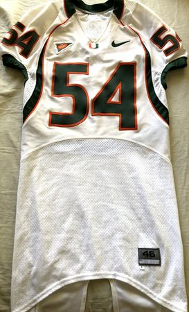 Teraz McCray Miami Hurricanes 2004 Nike game used or worn white stitched jersey