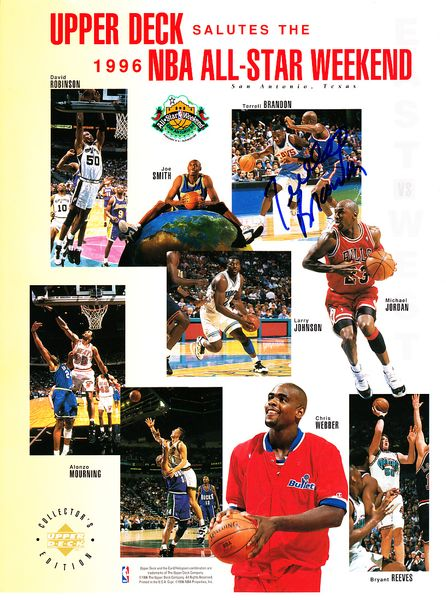 Terrell Brandon autographed Cleveland Cavaliers 1996 NBA All-Star Game Upper Deck card sheet