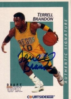 Terrell Brandon certified autograph Oregon 1991 Courtside card