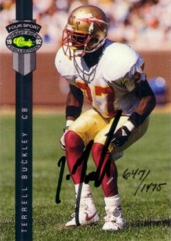 Terrell Buckley certified autograph Florida State 1992 Classic card