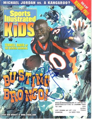 Terrell Davis autographed Denver Broncos 1998 Sports Illustrated for Kids magazine