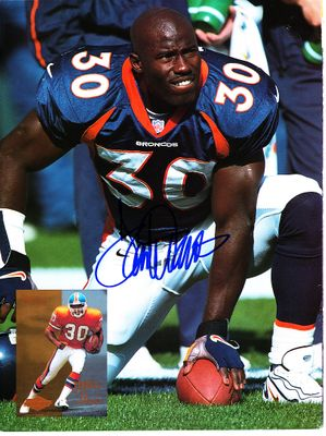 Terrell Davis autographed Denver Broncos Beckett Football magazine back cover photo