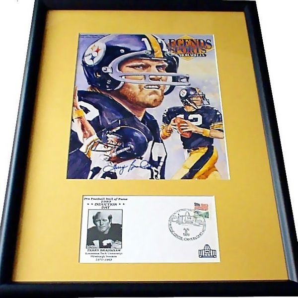 Terry Bradshaw autographed Pittsburgh Steelers Legends magazine cover framed with Hall of Fame cachet