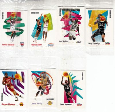 Lot of 7 1991-92 SkyBox mini basketball cards (Karl Malone Hakeem Olajuwon David Robinson James Worthy)