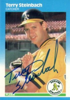 Terry Steinbach autographed Oakland A's 1987 Fleer Rookie Card