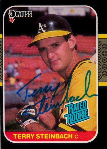 Terry Steinbach autographed Oakland A's 1987 Donruss Rookie Card