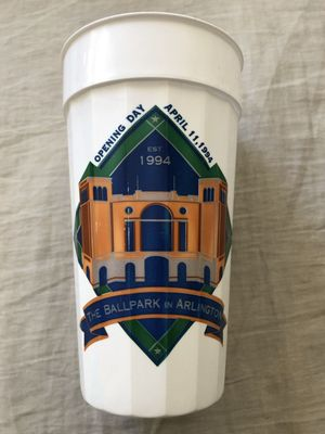 Texas Rangers 1994 Ballpark in Arlington Opening Day commemorative plastic cup
