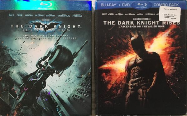 The Dark Knight and The Dark Knight Rises movies on Blu-ray DVDs