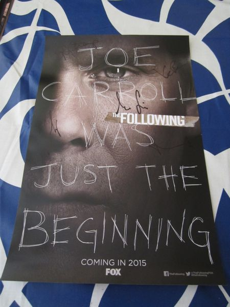 The Following cast autographed 2014 Comic-Con poster (Kevin Bacon Shawn Ashmore Jessica Stroup Sam Underwood)